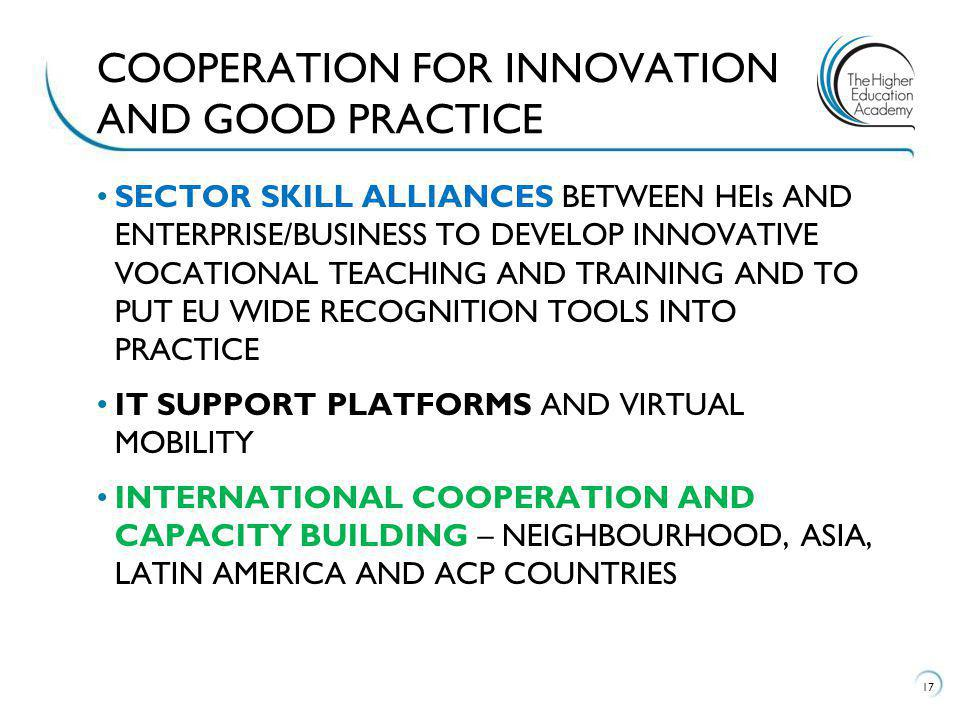 SECTOR SKILL ALLIANCES BETWEEN HEIs AND ENTERPRISE/BUSINESS TO DEVELOP INNOVATIVE VOCATIONAL TEACHING AND TRAINING AND TO PUT EU WIDE RECOGNITION TOOLS INTO PRACTICE IT SUPPORT PLATFORMS AND VIRTUAL MOBILITY INTERNATIONAL COOPERATION AND CAPACITY BUILDING – NEIGHBOURHOOD, ASIA, LATIN AMERICA AND ACP COUNTRIES 17 COOPERATION FOR INNOVATION AND GOOD PRACTICE