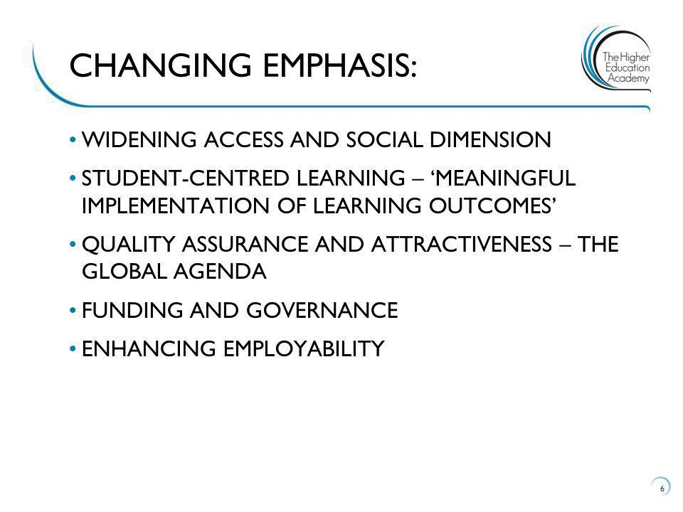 WIDENING ACCESS AND SOCIAL DIMENSION STUDENT-CENTRED LEARNING – MEANINGFUL IMPLEMENTATION OF LEARNING OUTCOMES QUALITY ASSURANCE AND ATTRACTIVENESS – THE GLOBAL AGENDA FUNDING AND GOVERNANCE ENHANCING EMPLOYABILITY 6 CHANGING EMPHASIS: