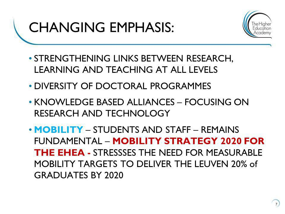 STRENGTHENING LINKS BETWEEN RESEARCH, LEARNING AND TEACHING AT ALL LEVELS DIVERSITY OF DOCTORAL PROGRAMMES KNOWLEDGE BASED ALLIANCES – FOCUSING ON RESEARCH AND TECHNOLOGY MOBILITY – STUDENTS AND STAFF – REMAINS FUNDAMENTAL – MOBILITY STRATEGY 2020 FOR THE EHEA - STRESSSES THE NEED FOR MEASURABLE MOBILITY TARGETS TO DELIVER THE LEUVEN 20% of GRADUATES BY 2020 7 CHANGING EMPHASIS: