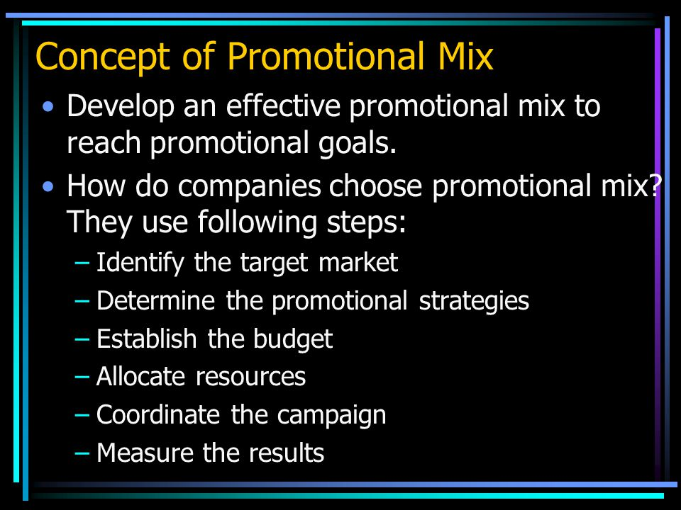 Concept of Promotional Mix Develop an effective promotional mix to reach promotional goals.