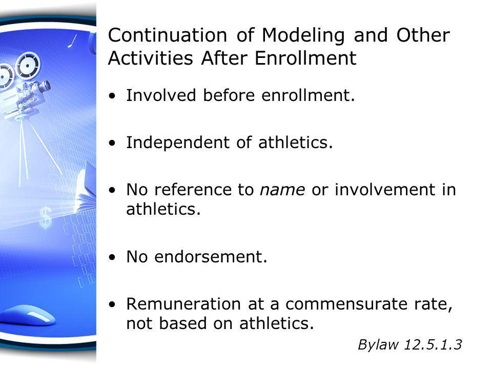 Continuation of Modeling and Other Activities After Enrollment Involved before enrollment. Independent of athletics. No reference to name or involveme