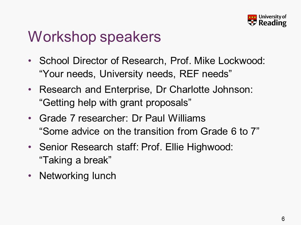 Workshop speakers School Director of Research, Prof. Mike Lockwood: Your needs, University needs, REF needs Research and Enterprise, Dr Charlotte John