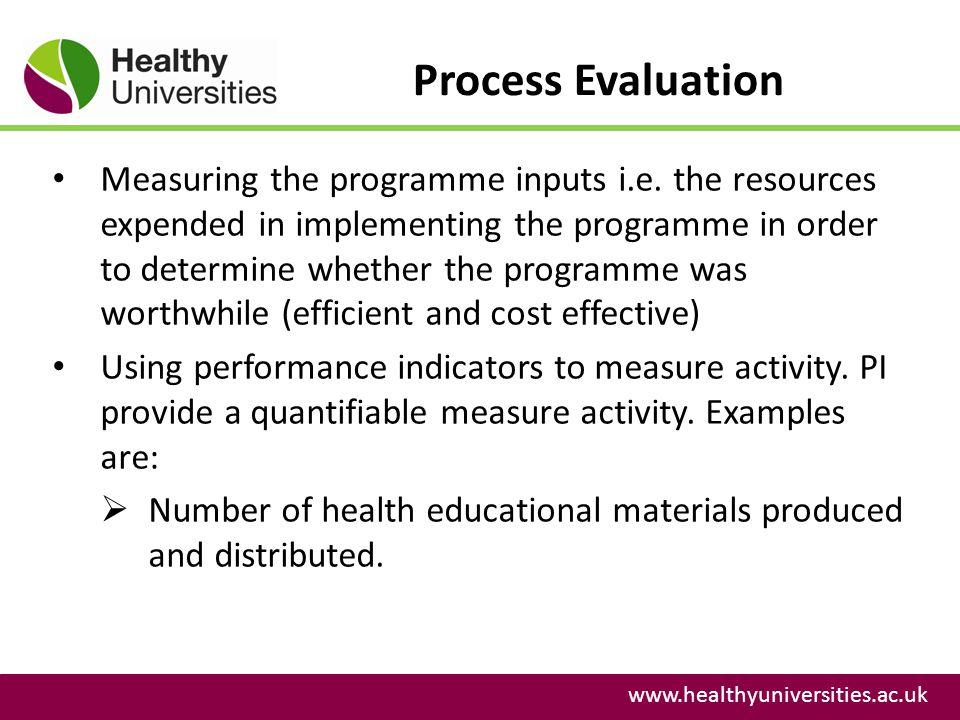 Process Evaluation www.healthyuniversities.ac.uk Measuring the programme inputs i.e.