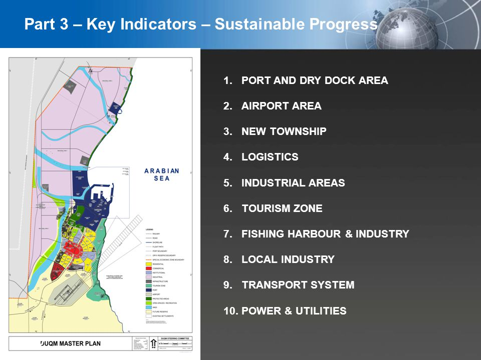 YOUR LOGO 1.PORT AND DRY DOCK AREA 2.AIRPORT AREA 3.NEW TOWNSHIP 4.LOGISTICS 5.INDUSTRIAL AREAS 6.TOURISM ZONE 7.FISHING HARBOUR & INDUSTRY 8.LOCAL INDUSTRY 9.TRANSPORT SYSTEM 10.POWER & UTILITIES 22 Part 3 – Key Indicators – Sustainable Progress
