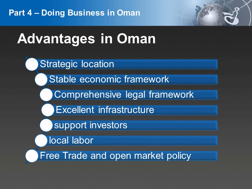 YOUR LOGO Strategic location Stable economic framework Comprehensive legal framework Excellent infrastructure support investors local labor Free Trade and open market policy Advantages in Oman Part 4 – Doing Business in Oman