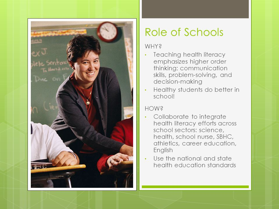 Role of Schools WHY.