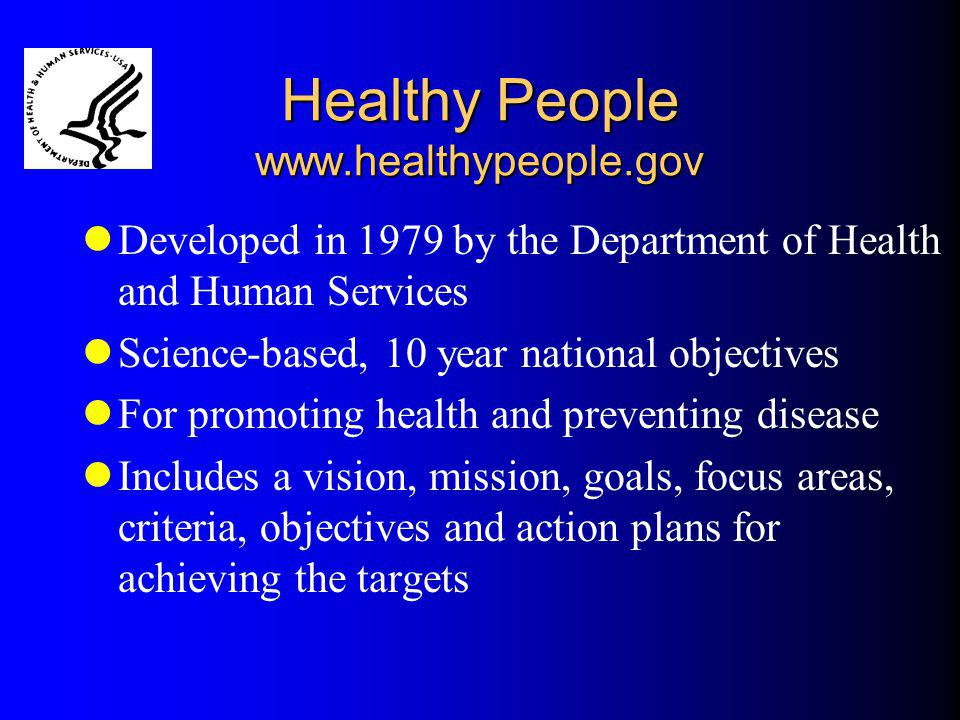 Healthy People www.healthypeople.gov Developed in 1979 by the Department of Health and Human Services Science-based, 10 year national objectives For p