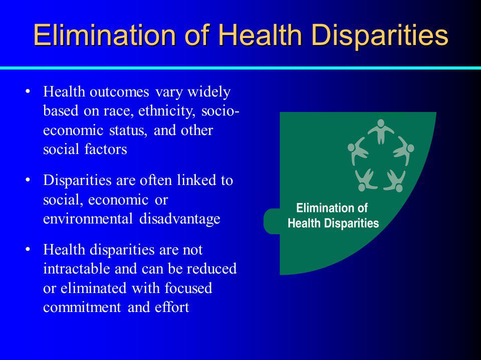 Elimination of Health Disparities Health outcomes vary widely based on race, ethnicity, socio- economic status, and other social factors Disparities a