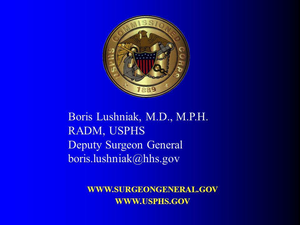 Boris Lushniak, M.D., M.P.H. RADM, USPHS Deputy Surgeon General boris.lushniak@hhs.gov WWW.SURGEONGENERAL.GOV WWW.USPHS.GOV