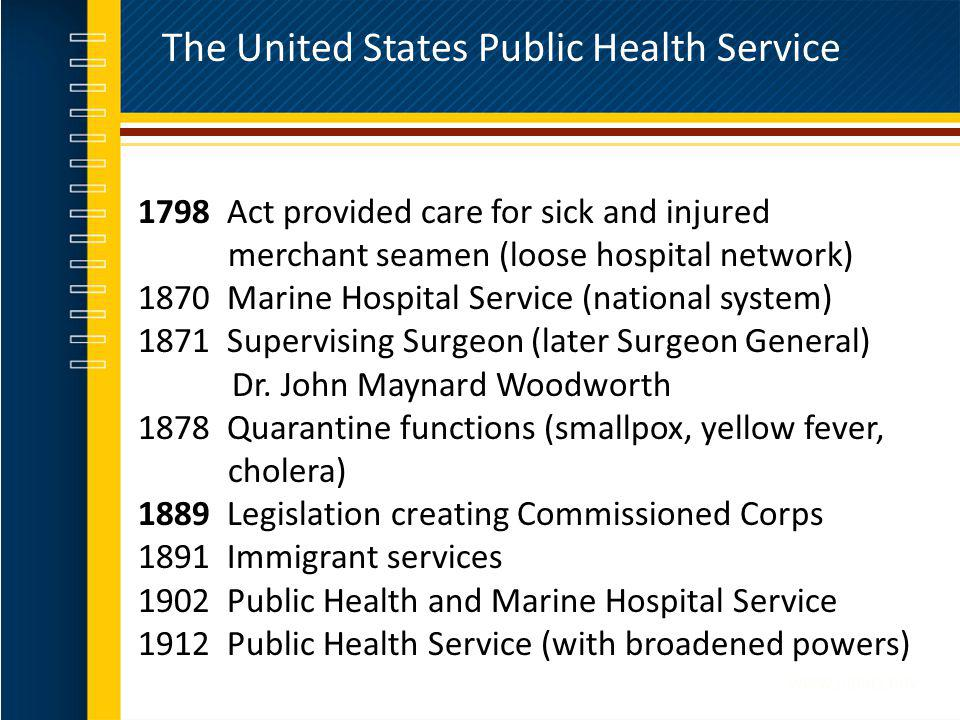 The United States Public Health Service 1798 Act provided care for sick and injured merchant seamen (loose hospital network) 1870 Marine Hospital Serv
