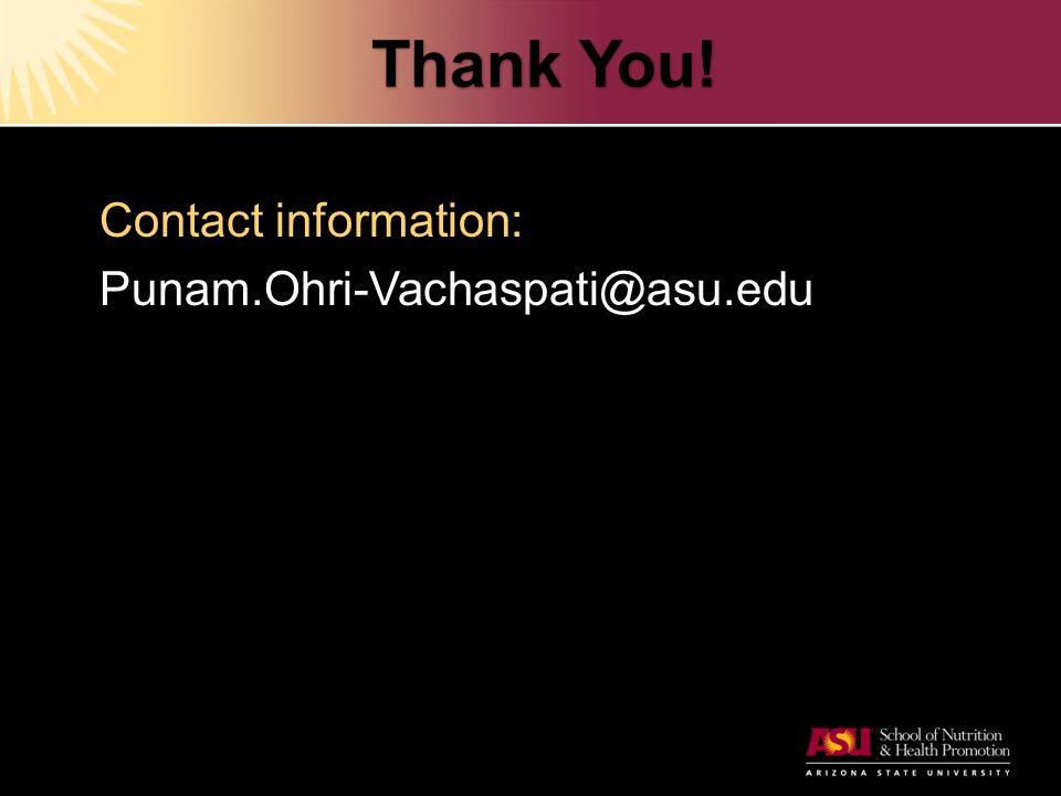 Thank You! Contact information: Punam.Ohri-Vachaspati@asu.edu