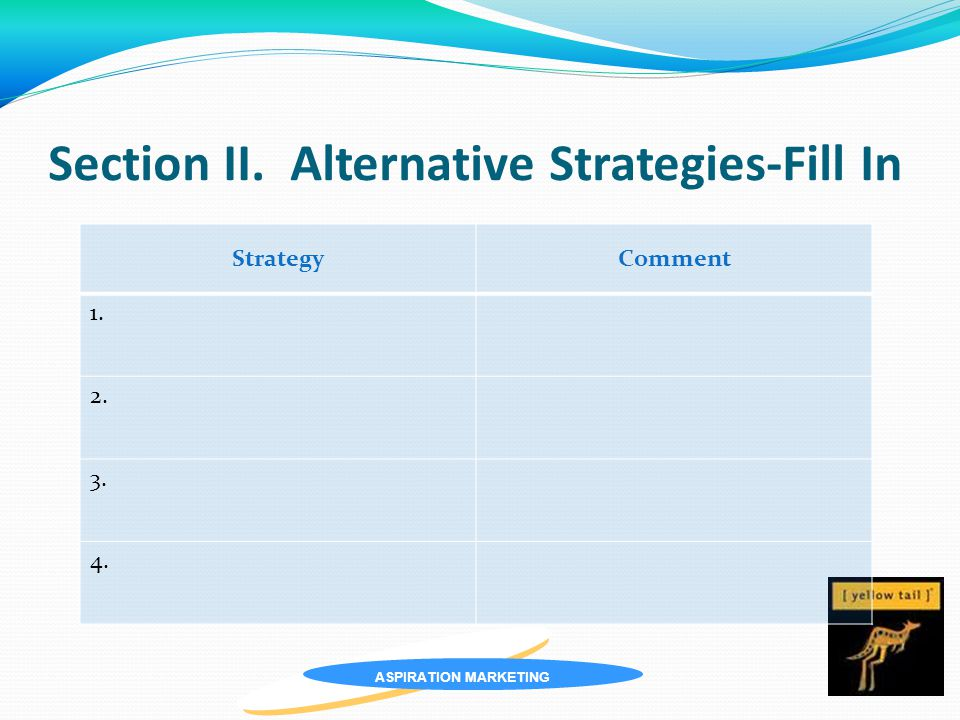 ASPIRATION MARKETING Section II. Alternative Strategies-Fill In StrategyComment 1. 2. 3. 4.