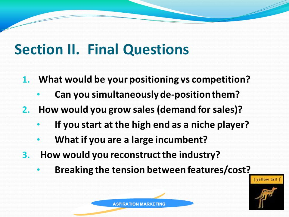 ASPIRATION MARKETING Section II. Final Questions 1.