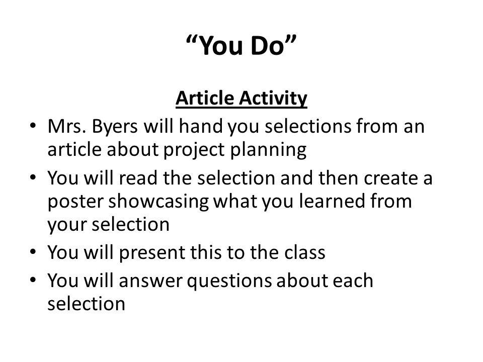 You Do Article Activity Mrs.