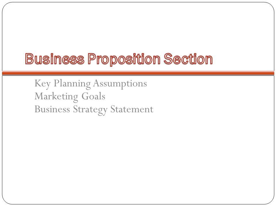 Key Planning Assumptions Marketing Goals Business Strategy Statement