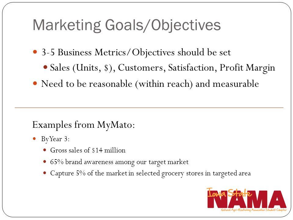 Marketing Goals/Objectives 3-5 Business Metrics/Objectives should be set Sales (Units, $), Customers, Satisfaction, Profit Margin Need to be reasonabl