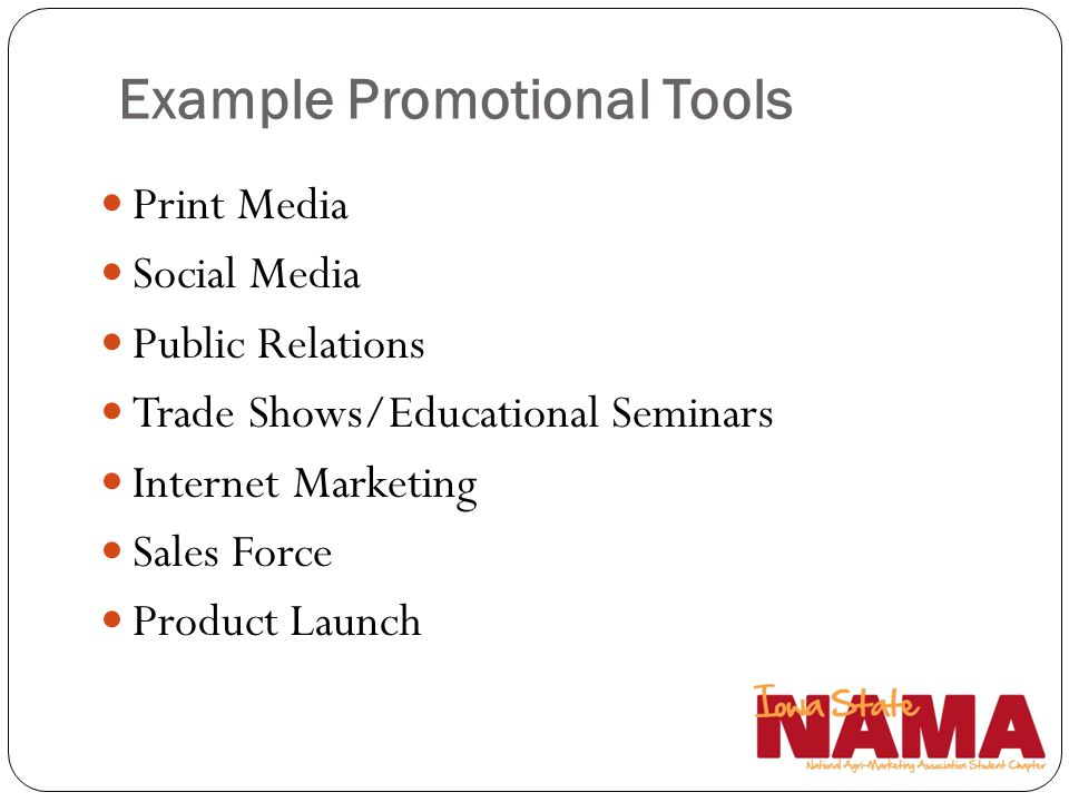 Example Promotional Tools Print Media Social Media Public Relations Trade Shows/Educational Seminars Internet Marketing Sales Force Product Launch