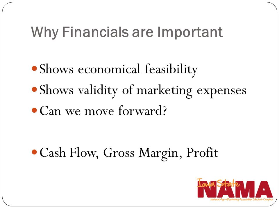 Why Financials are Important Shows economical feasibility Shows validity of marketing expenses Can we move forward? Cash Flow, Gross Margin, Profit