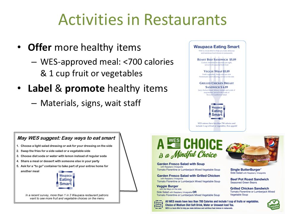 Activities in Restaurants Offer more healthy items – WES-approved meal: <700 calories & 1 cup fruit or vegetables Label & promote healthy items – Mate