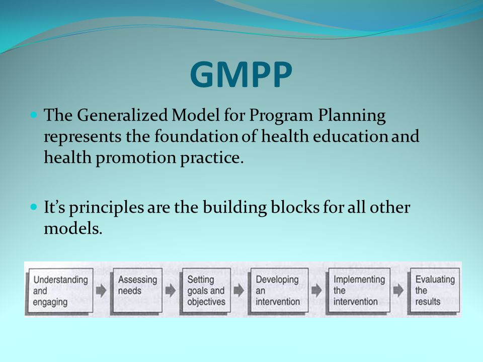 GMPP The Generalized Model for Program Planning represents the foundation of health education and health promotion practice. Its principles are the bu