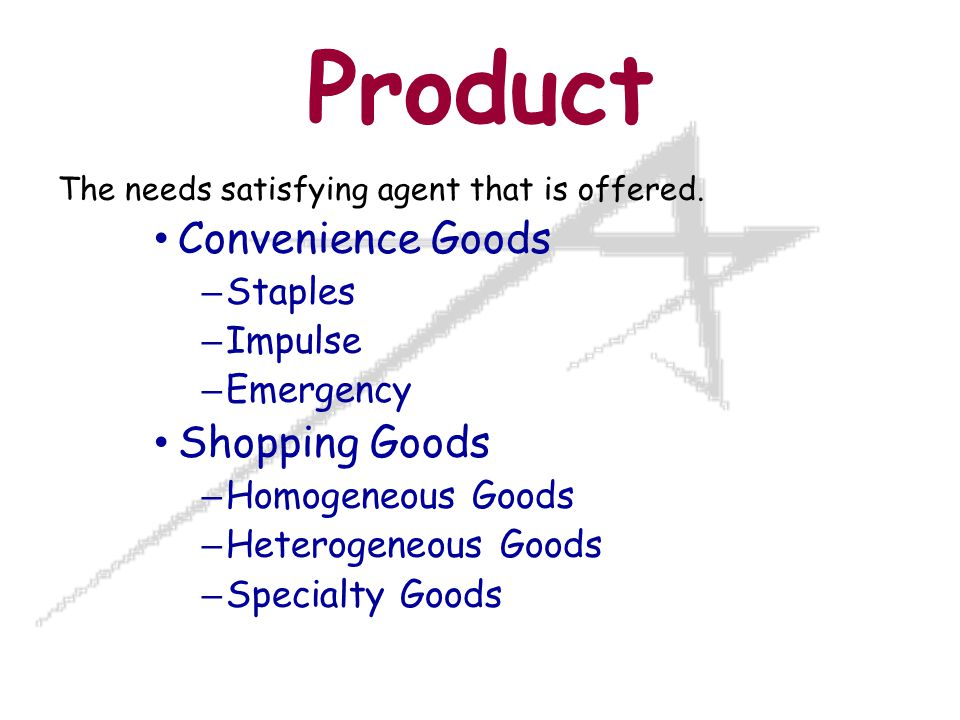 Product The needs satisfying agent that is offered.