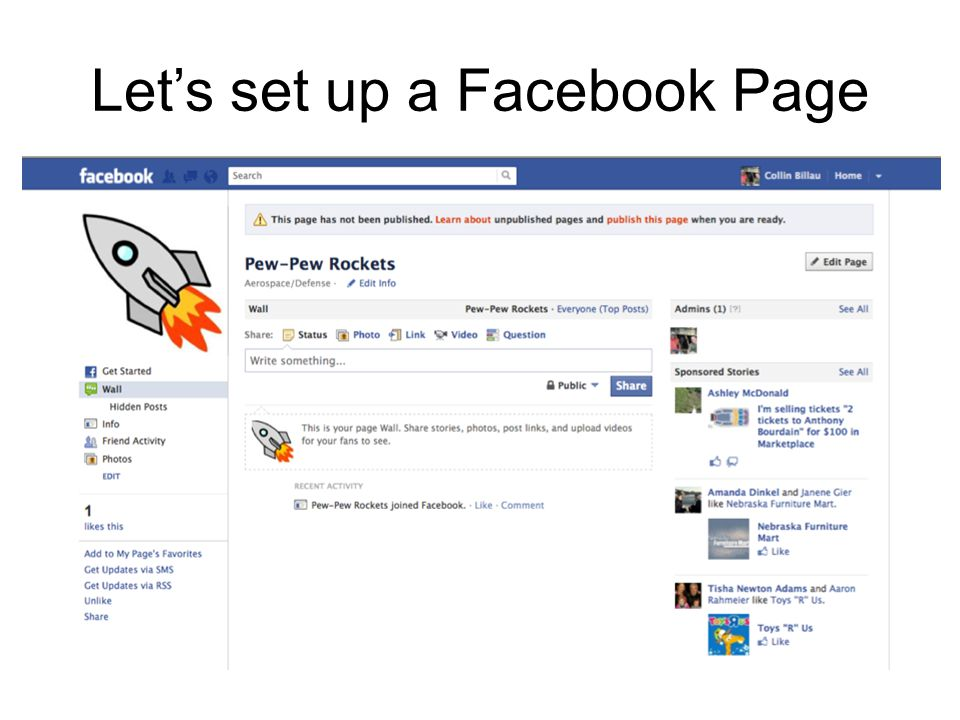 Lets set up a Facebook Page