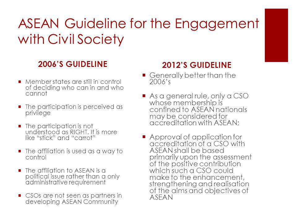 ASEAN Guideline for the Engagement with Civil Society 2006S GUIDELINE Member states are still in control of deciding who can in and who cannot The par