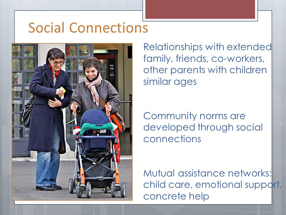 Relationships with extended family, friends, co-workers, other parents with children similar ages Community norms are developed through social connect