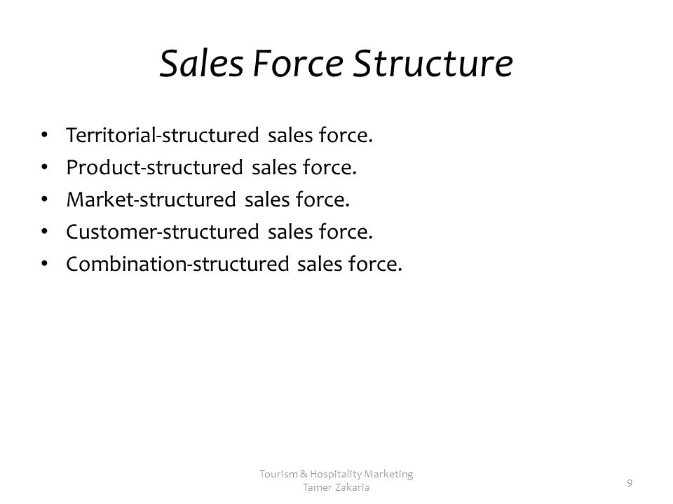 Sales Force Structure Territorial-structured sales force.