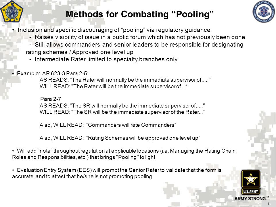 Methods for Combating Pooling Inclusion and specific discouraging of pooling via regulatory guidance - Raises visibility of issue in a public forum wh