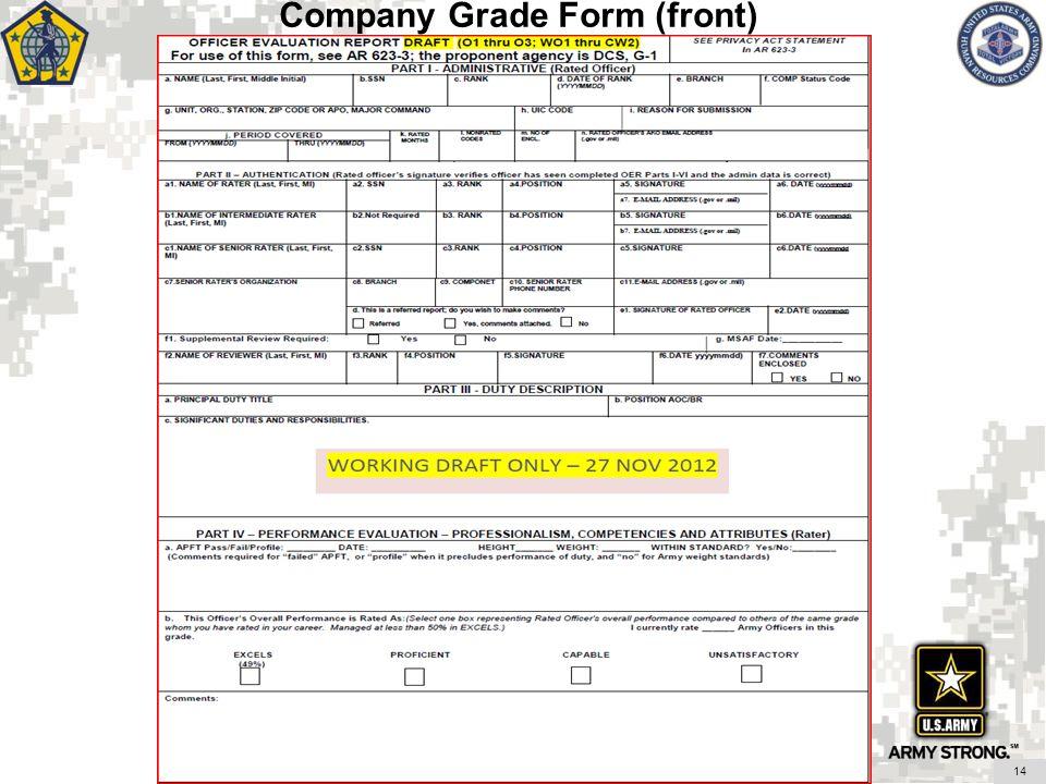 Company Grade Form (front) 14