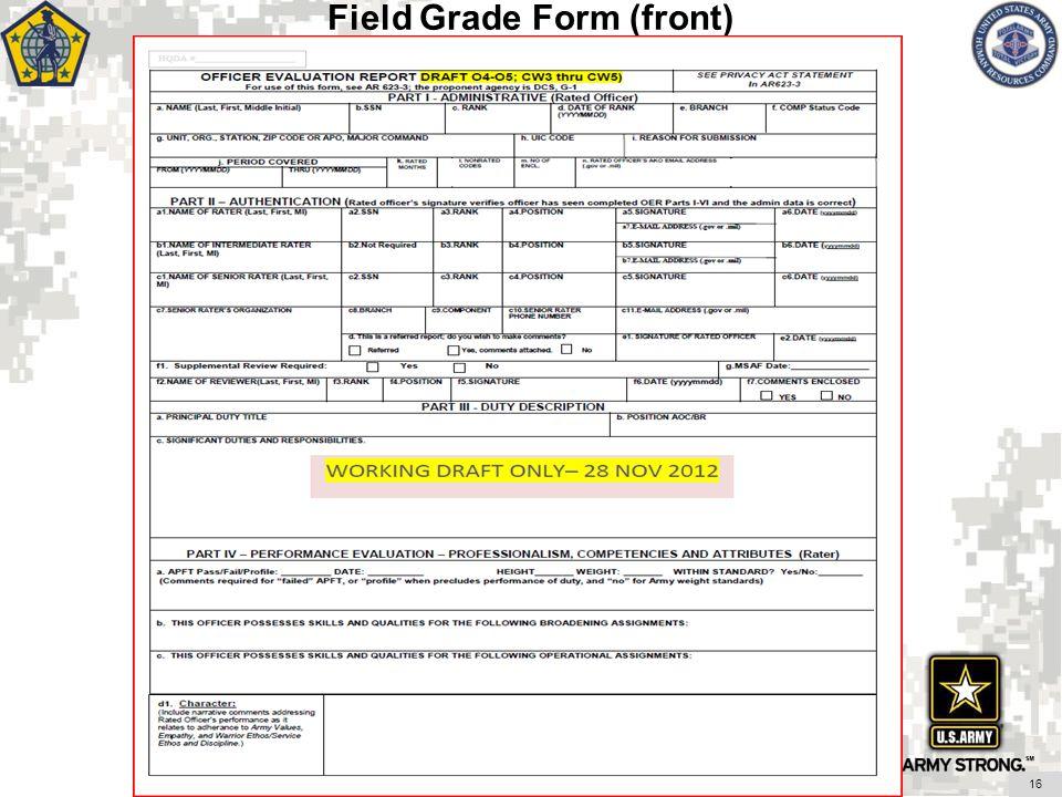 16 Field Grade Form (front)