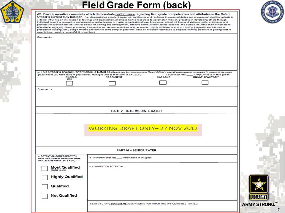 17 Field Grade Form (back)