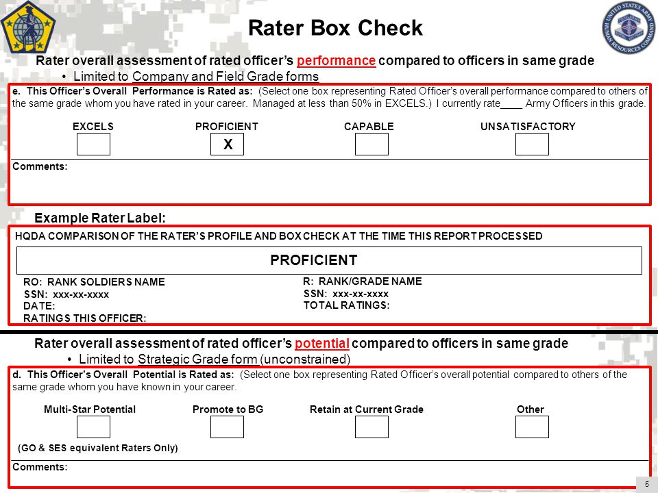 () Rater overall assessment of rated officers performance compared to officers in same grade Limited to Company and Field Grade forms Rater overall assessment of rated officers potential compared to officers in same grade Limited to Strategic Grade form (unconstrained) Example Rater Label: Rater Box Check 8 EXCELS (49%) e.