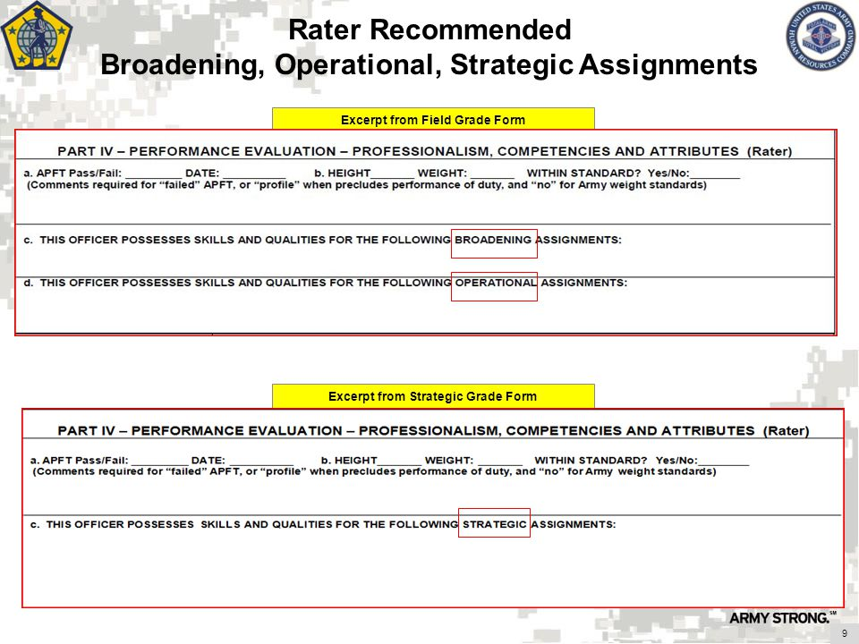 Excerpt from Field Grade Form Excerpt from Strategic Grade Form Rater Recommended Broadening, Operational, Strategic Assignments 9