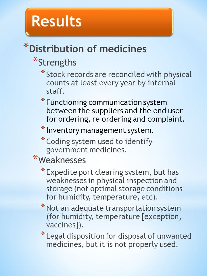 Results * Distribution of medicines * Strengths * Stock records are reconciled with physical counts at least every year by internal staff.