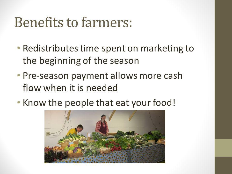 Benefits to farmers: Redistributes time spent on marketing to the beginning of the season Pre-season payment allows more cash flow when it is needed Know the people that eat your food!