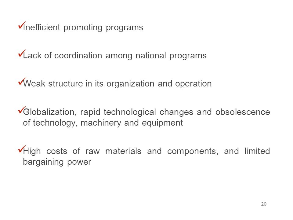 Inefficient promoting programs Lack of coordination among national programs Weak structure in its organization and operation Globalization, rapid tech
