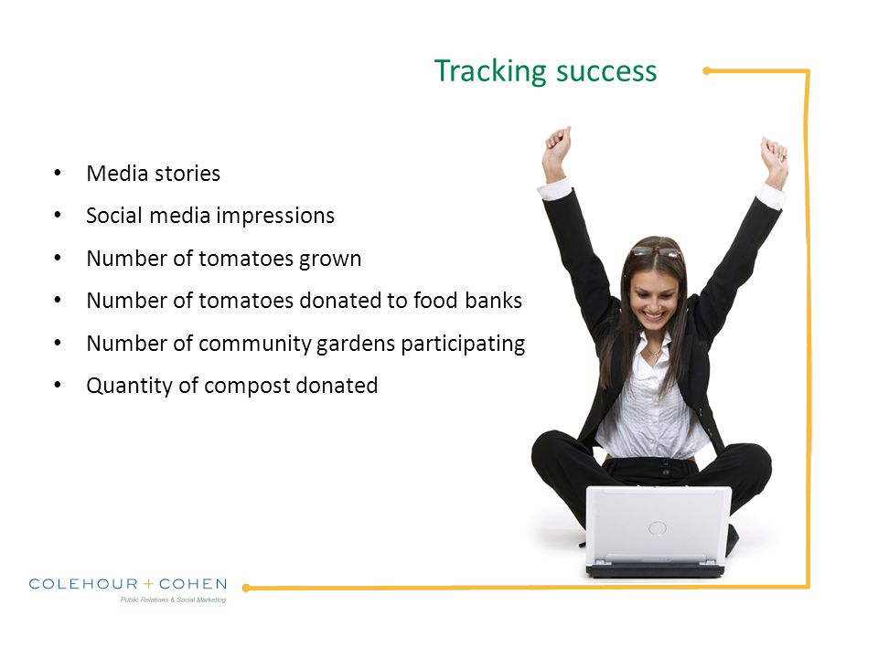 Tracking success Media stories Social media impressions Number of tomatoes grown Number of tomatoes donated to food banks Number of community gardens participating Quantity of compost donated