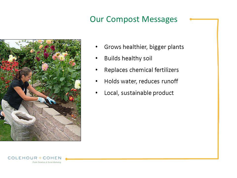 Our Compost Messages Grows healthier, bigger plants Builds healthy soil Replaces chemical fertilizers Holds water, reduces runoff Local, sustainable product