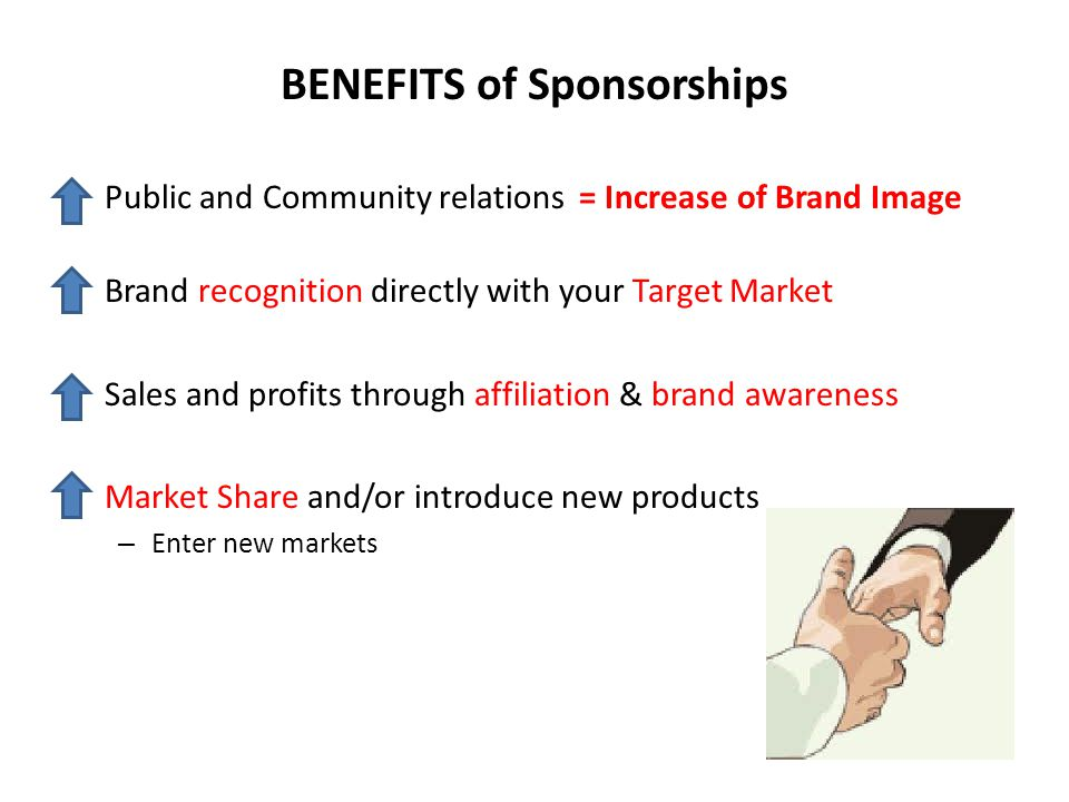 BENEFITS of Sponsorships Public and Community relations = Increase of Brand Image Brand recognition directly with your Target Market Sales and profits