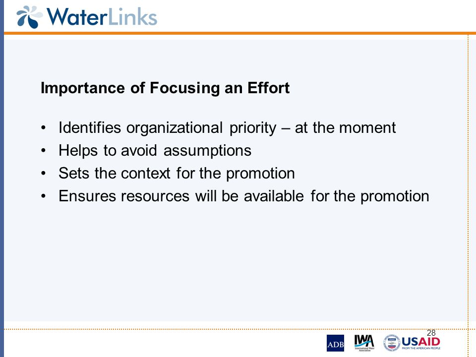28 Importance of Focusing an Effort Identifies organizational priority – at the moment Helps to avoid assumptions Sets the context for the promotion E