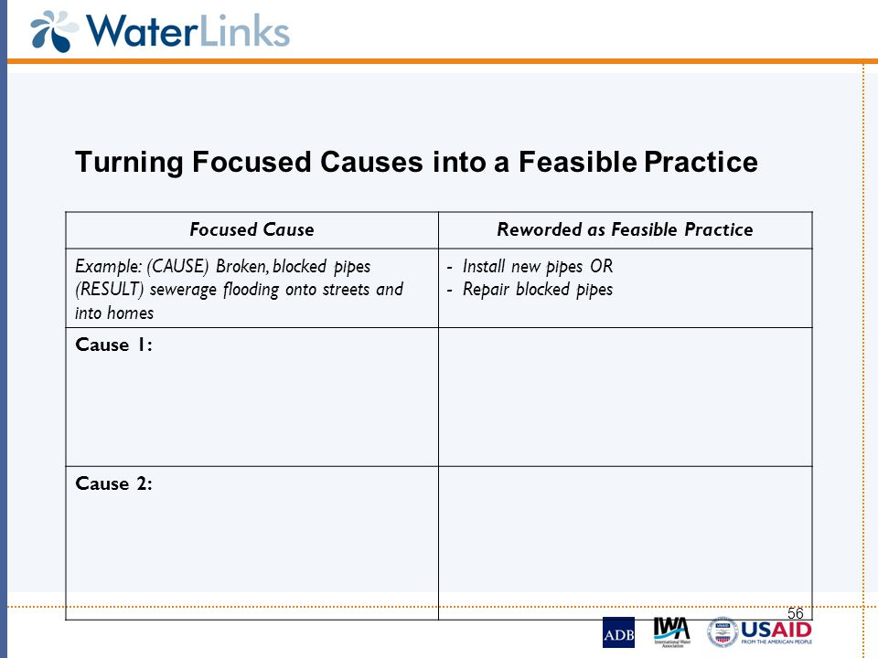 56 Turning Focused Causes into a Feasible Practice Focused CauseReworded as Feasible Practice Example: (CAUSE) Broken, blocked pipes (RESULT) sewerage