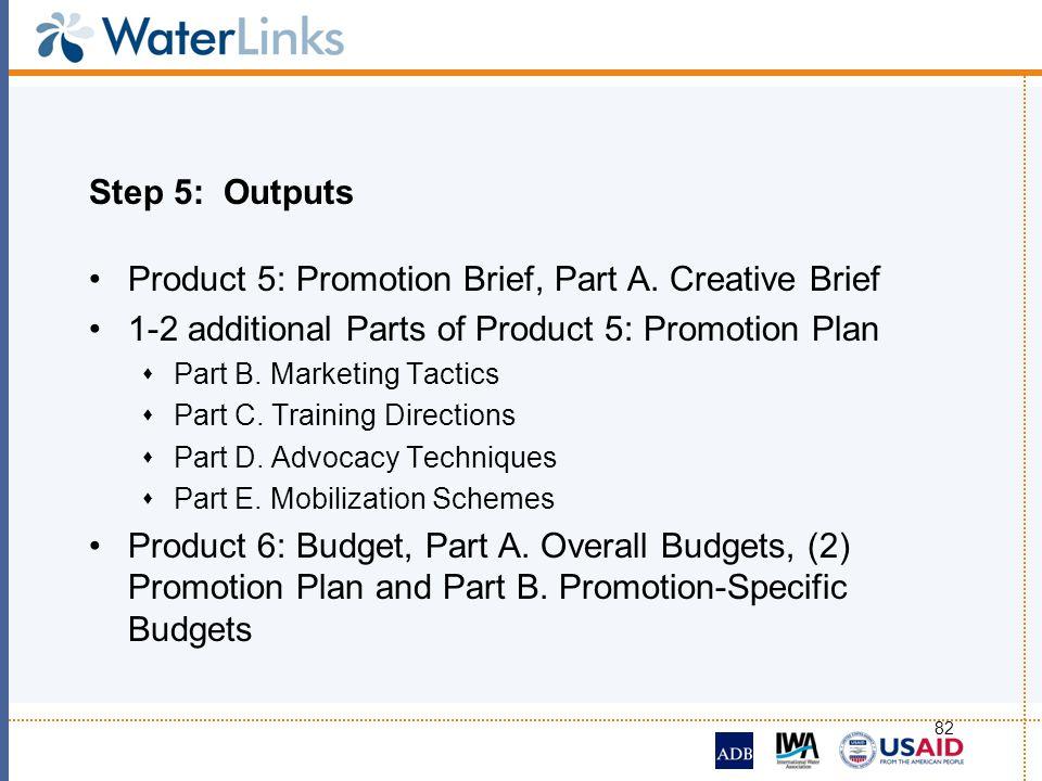82 Step 5: Outputs Product 5: Promotion Brief, Part A. Creative Brief 1-2 additional Parts of Product 5: Promotion Plan Part B. Marketing Tactics Part