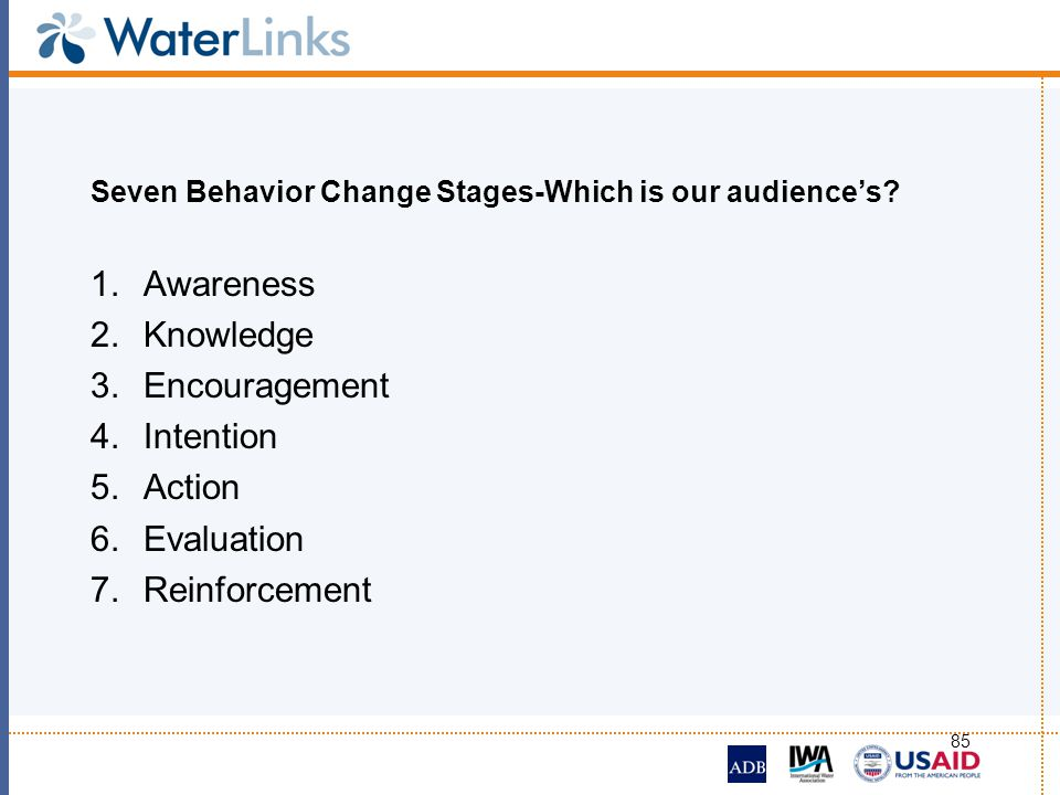 85 Seven Behavior Change Stages-Which is our audiences? 1.Awareness 2.Knowledge 3.Encouragement 4.Intention 5.Action 6.Evaluation 7.Reinforcement