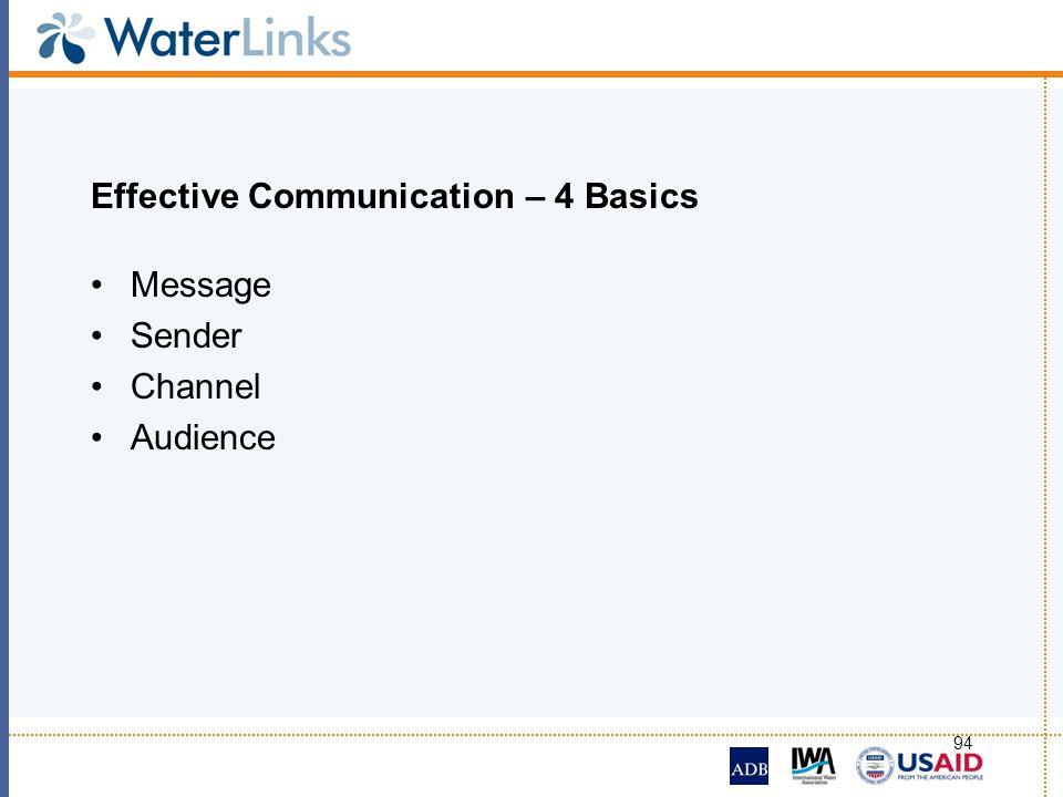 94 Effective Communication – 4 Basics Message Sender Channel Audience