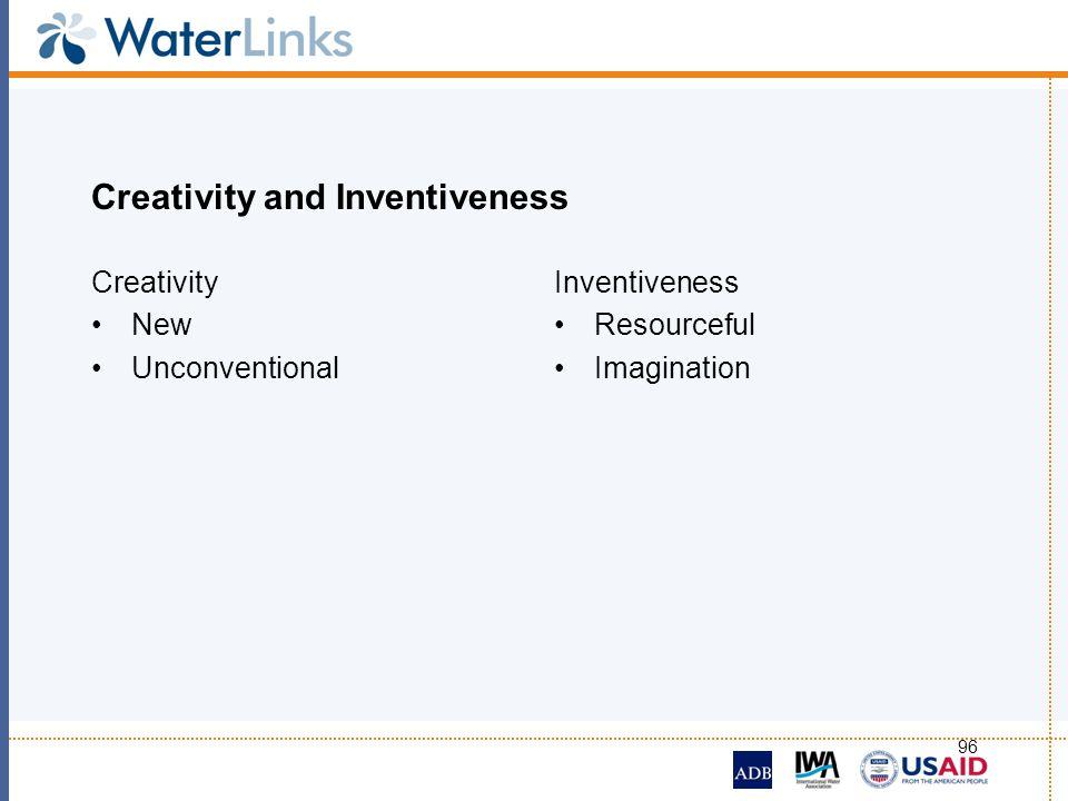 96 Creativity and Inventiveness Creativity New Unconventional Inventiveness Resourceful Imagination