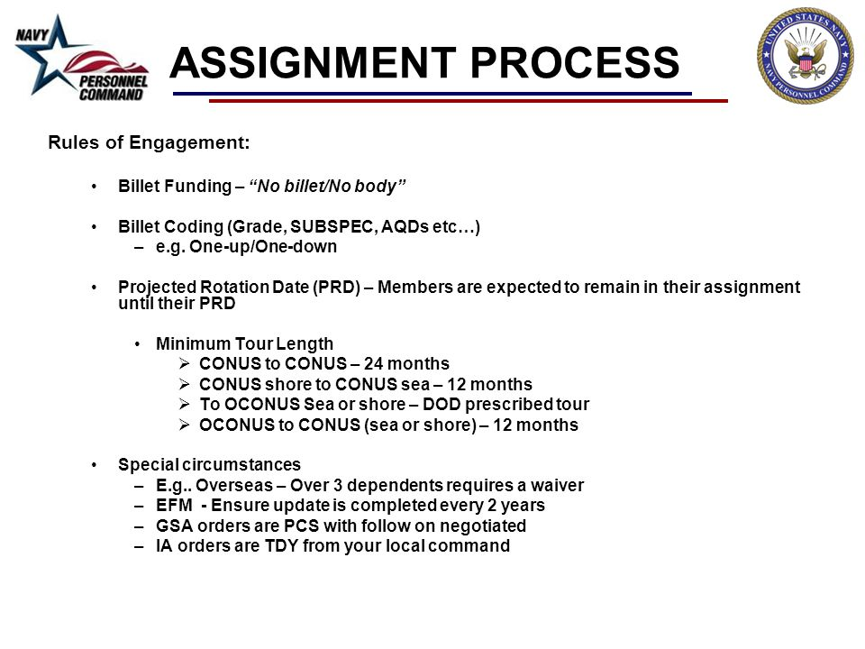 ASSIGNMENT PROCESS Rules of Engagement: Billet Funding – No billet/No body Billet Coding (Grade, SUBSPEC, AQDs etc…) –e.g. One-up/One-down Projected R