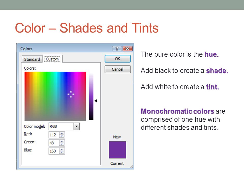 Color – Shades and Tints hue. The pure color is the hue.