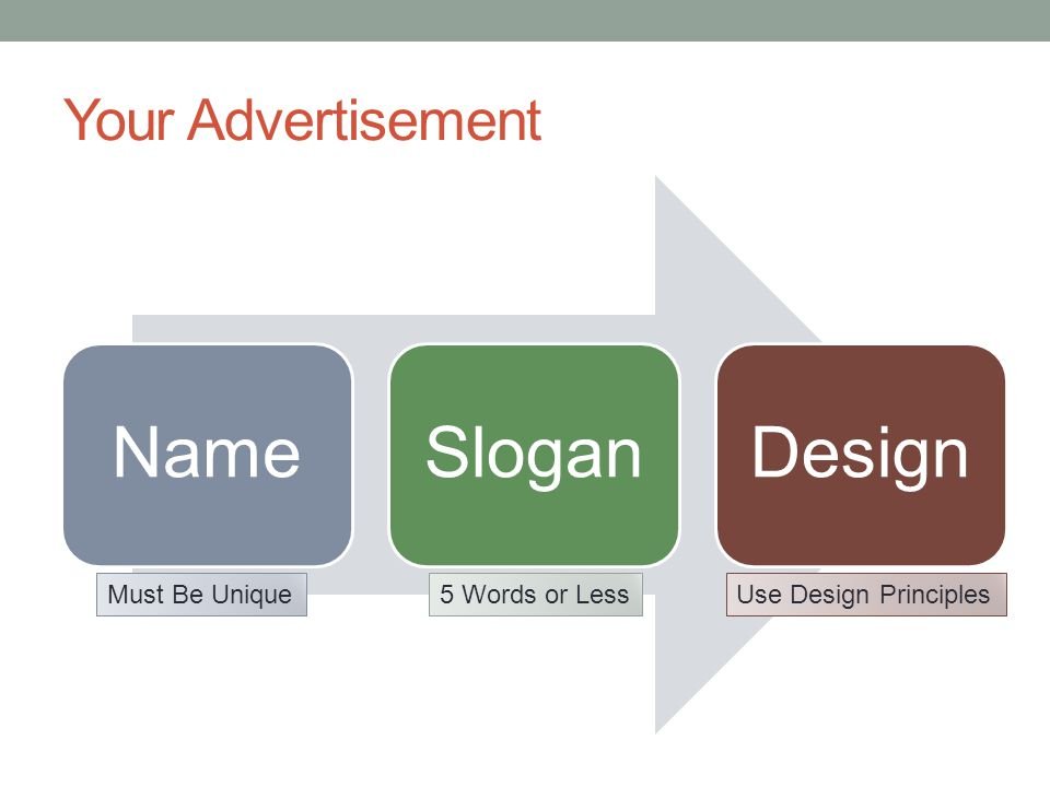 Your Advertisement NameSloganDesign Must Be Unique5 Words or LessUse Design Principles